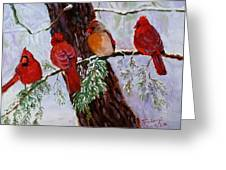 Birds On Branch In Snow Greeting Card