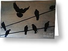Birds On Wire Greeting Card
