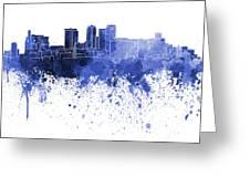 Birmingham Al Skyline In Blue Watercolor On White Background Greeting Card