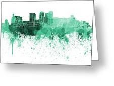 Birmingham Al Skyline In Green Watercolor On White Background Greeting Card