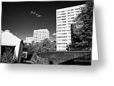Birmingham Civic Gardens Council Tower Block Estate Uk Greeting Card