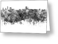 Birmingham Skyline In Black Watercolor On White Background Greeting Card