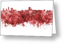 Birmingham Skyline In Red Watercolor On White Background Greeting Card