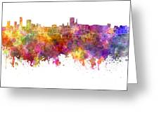 Birmingham Skyline In Watercolor On White Background Greeting Card