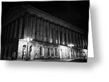 Birmingham Town Hall In The City Centre At Night England Uk Greeting Card