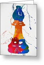 Bishop Chess Piece Paint Splatter Greeting Card