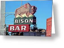 Miles City Montana - Bison Bar Greeting Card