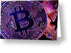 Bitcoin Coins In A Mysterious Lighting Greeting Card