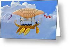 Bizarre Feline-powered Airship Greeting Card
