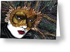 Black And Gold Carnival Mask Greeting Card
