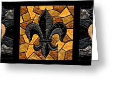Black And Gold Fleur De Lis Triptych Greeting Card