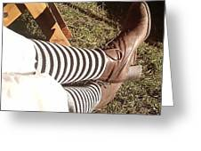 Black And Gray Stockings Greeting Card