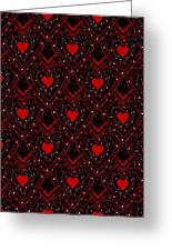 Black And Red Hearts Greeting Card