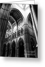 Black And White Almudena Cathedral Interior In Madrid Greeting Card