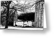 Black And White Barn And Silo Greeting Card