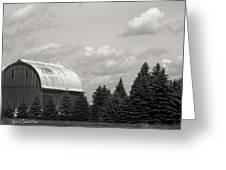 Black And White Barn Greeting Card