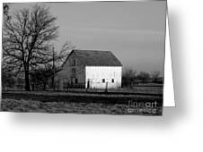 Black And White Barn Ll Greeting Card