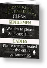 Black And White Bathroom Rules Greeting Card