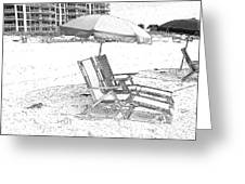 Black And White Beach Chairs Greeting Card