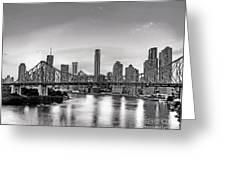 Black And White Brisbane Landscape Greeting Card