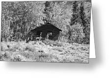 Black And White Cabin Greeting Card