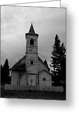 Black And White Church In Williston North Dakota. Greeting Card