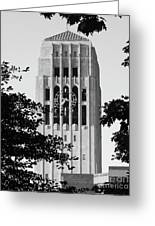 Black And White Clock Tower Greeting Card