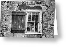 Black And White Cottage Window Greeting Card