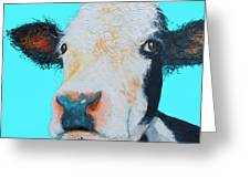 Black And White Cow On Blue Background Greeting Card