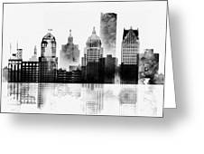 Black And White Detroit Greeting Card