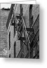 Black And White Fire Escape Greeting Card