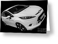 Black And White Ford Fiesta Greeting Card