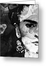 Black And White Frida Kahlo By Sharon Cummings Greeting Card