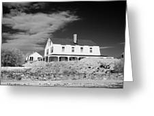 Black And White Image Of A House In New England In Infrared Greeting Card