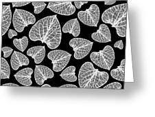 Black And White Leaf Abstract Greeting Card