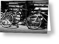 Black And White Leaning Bikes Greeting Card