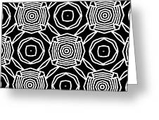 Black And White Modern Roses- Pattern Art By Linda Woods Greeting Card by Linda Woods