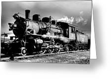 Black And White Of An Old Steam Engine  Greeting Card