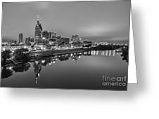 Black And White Of Nashville Tennessee Skyline Sunrise  Greeting Card