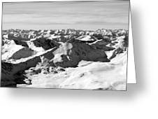 Black And White Of The Summit Of Mount Elbert Colorado In Winter Greeting Card