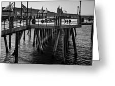Black And White On The Pier Greeting Card