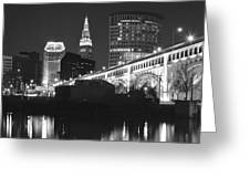 Black And White Panorama Of Cleveland Greeting Card