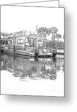Black And White Party Boat Greeting Card