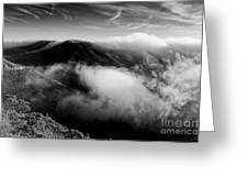 Black And White Photograph Of Fog Rising In The Marin Headlands - Sausalito Marin County California Greeting Card