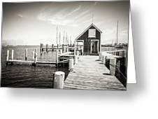 Black And White Photography - Martha's Vineyard - Black Dog Wharf Greeting Card