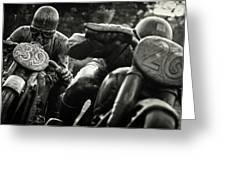 Black And White Photography - Motorcyclists Greeting Card