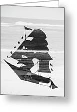 Black And White Pirate Ship Against The Sea And Crushing Waves. Double Exposure Greeting Card