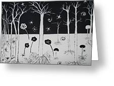 Black And White Poppies Greeting Card