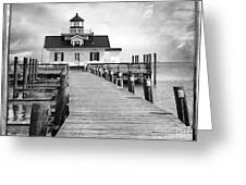 Black And White  Roanoke Lighthouse Greeting Card