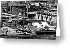 Black And White Rooftops Greeting Card
